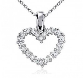 Heart shaped diamond pendants necklaces online buyfinediamonds 025ct heart shape diamond pendant white gold with chain mozeypictures Images
